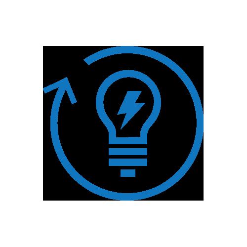 Blue lightbulb with arrow refresh arrow icon